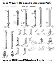 All Window Sash Balance Parts and JambLiner Sash Balance Carrier Track Replacement System Parts USA.
