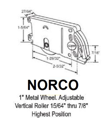 Norco Hardware Parts Patio Screen Door Roller Assembly