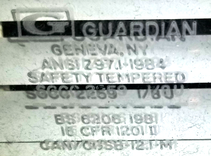 """If you have a window or sliding glass door that needs parts, repair or replacement and it has a """"Guardian"""" stamp on the glass, the stamp simply means the glass was """"tempered"""" by Guardian"""