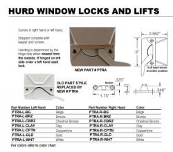 Hurd Sash Lock Amp Keeper Rh Lh All Finishes Beige